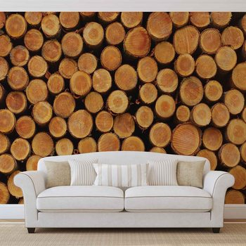 Ταπετσαρία τοιχογραφία Wood Texture Logs Nature
