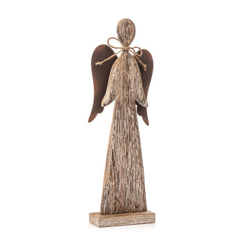 Wooden Tall Angel with Bow Faded Paint, 30 cm Домашен Декор
