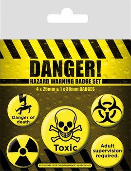 Значка комплект 4 броя Danger! - Hazard Warning