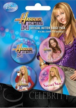 Значка комплект 4 броя HANNAH MONTANA - secret star