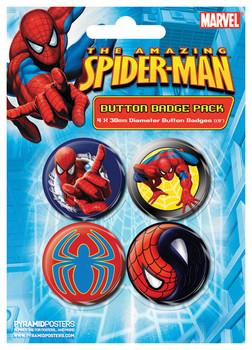 Значка комплект 4 броя SPIDER-MAN - wall crawler