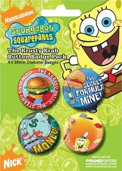 Значка комплект 4 броя SPONGEBOB - krusty krab