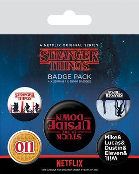 Значка комплект 4 броя Stranger Things - Upside Down