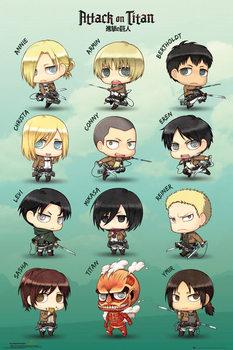 Плакат Attack on Titan (Shingeki no kyojin) - Chibi Characters