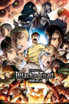 Плакат Attack on Titan (Shingeki no kyojin) - Season 2 Collage Key Art