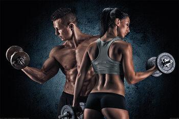 Плакат Gym - Athletic Man and Woman