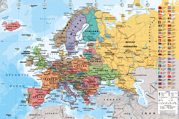 Плакат Map of Europe - Political