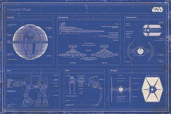 Плакат Star Wars - Imperial Fleet Blueprint