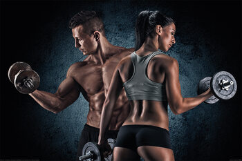 Gym - Athletic Man and Woman Плакат