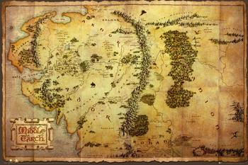 Hobbit - karta över Midgård Плакат