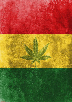 Rasta Flag - Leaf Плакат