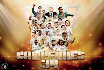 Real Madrid - Campeones 2019/2020 Плакат