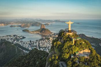 Rio de Janeiro - Christ and Botafogo Bay Плакат
