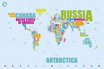 World map in words Плакат