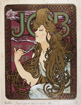 """Платно Advertising poster for """"Job Cigarette Paper"""" by Mucha, 1898."""