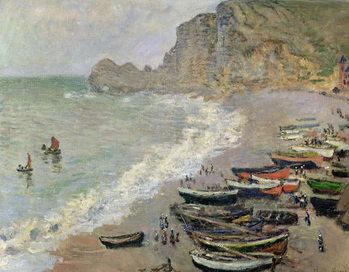 Платно Etretat, beach and the Porte d'Amont, 1883
