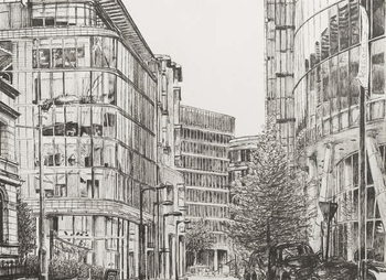 Платно Manchester, Deansgate, view from cafe,2010,