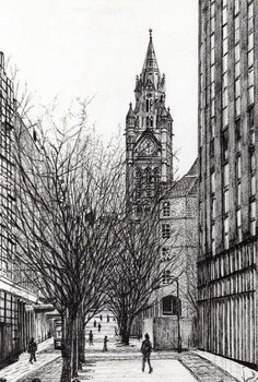 Платно Manchester Town Hall from Deansgate, 2007,
