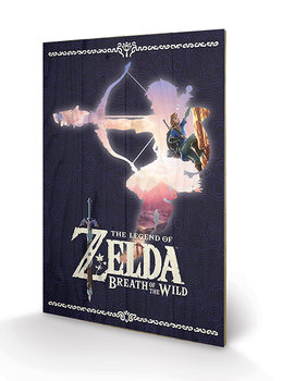 The Legend of Zelda: Breath Of The Wild - Silhouette Принт по дереві