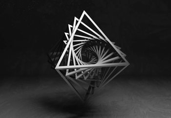3D Black And White Object Фотошпалери