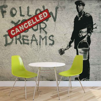 Banksy Graffiti Concrete Wall Фотошпалери