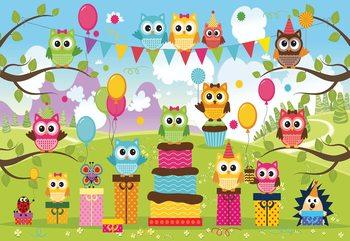 Cartoon Owl Party Фотошпалери