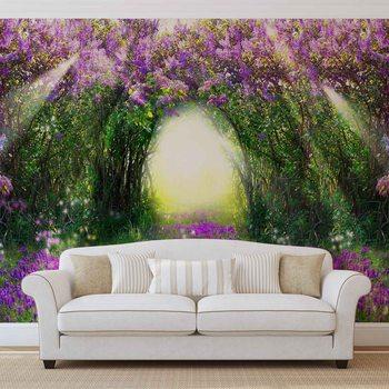 Flowers Purple Forest Light Beam Nature Фотошпалери