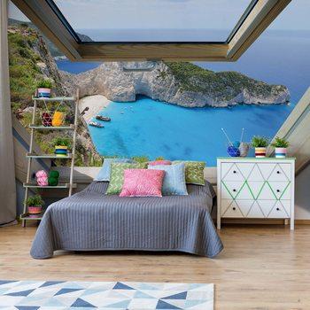 Greek Island Skylight Window View Фотошпалери