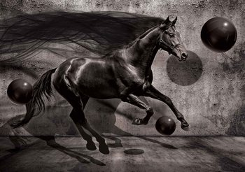 Horse Spheres Black 3D Фотошпалери