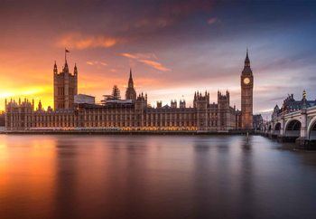 London Palace Of Westminster Sunset Фотошпалери