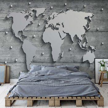 Modern 3D World Map Concrete Texture Фотошпалери
