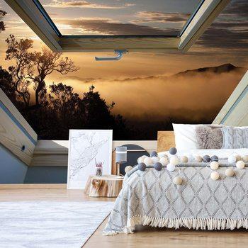 Mountain Skylight Window View Фотошпалери