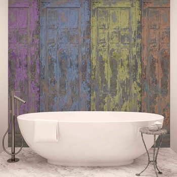 Rustic Painted Wood Doors Фотошпалери