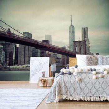 Sepia New York City Skyline Brooklyn Bridge Фотошпалери