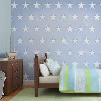 Stars Pattern Blue Фотошпалери