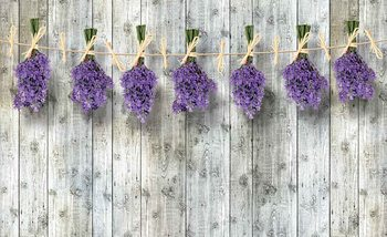 Wooden Wall Flowers Lavender Фотошпалери