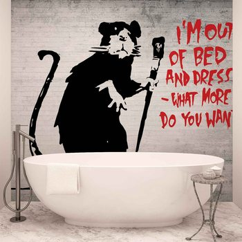 Banksy Graffiti Rat Concrete Wall Фото-тапети
