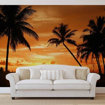 Beach Tropical Sunset Palms Фото-тапети
