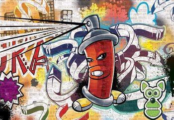 Graffiti Street Art Red фототапет