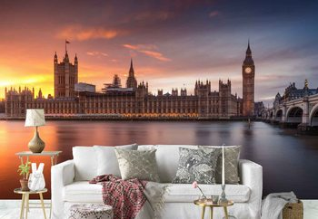 London Palace Of Westminster Sunset Фото-тапети