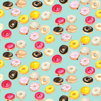 Watercolor donuts in mint фототапет