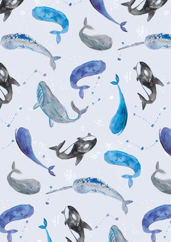 Watercolour dreamy whales фототапет