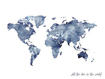 Worldmap blue watercolor фототапет