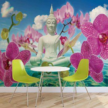 Zen Flowers Orchids Buddha Water Sky фототапет