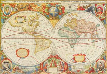 Antique Map Of The World Художествено Изкуство
