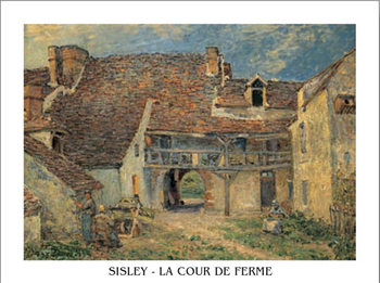 Courtyard of Farm at St. Mammes, 1884 Художествено Изкуство
