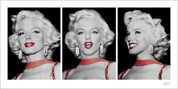 Marilyn Monroe - Red Dress Triptych Художествено Изкуство
