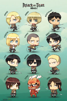 Attack on Titan - Chibi characters плакат
