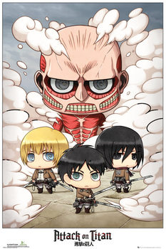 Attack on Titan (Shingeki no kyojin) - Chibi Group плакат