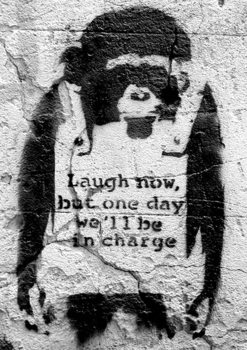 Banksy street art - chimp плакат